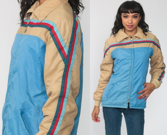 Puffer Jacket 70s Pacific Trail Ski Jacket Retro 80s Striped Puffy Coat Winter Jacket Blue Tan 1980s Hipster 1970s Puff Small Medium