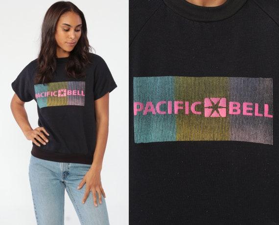Pacific Bell Shirt Short Sleeve Sweatshirt 80s Shirt Neon Phone Company AT&T Slouchy Retro 1980s Top Vintage Graphic Raglan Medium