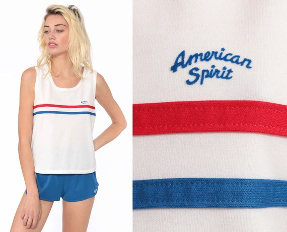 Vintage Two Piece Outfit AMERICAN SPIRIT Jogging Romper Set 80s Shorts + Top PLAYSUIT Striped Print Gym Athletic 1980s Summer Small