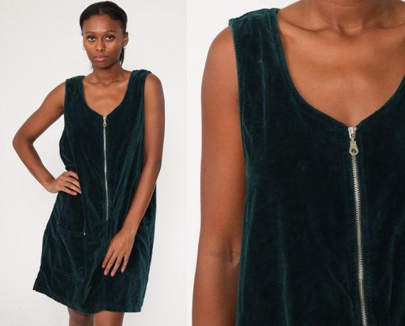 Velvet Jumper Dress 90s Dark Blue Mini Shift 1990s Grunge Pinafore Zip Up Overall Dress Pocket Vintage Minidress Large xl l