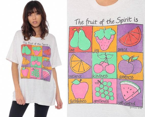 Christian T Shirt FRUIT Of THE SPIRIT Galatians 5 22 90s Tshirt Vintage Kindness Love Joy Peace T Shirt 1980s Graphic Kawaii Medium Large