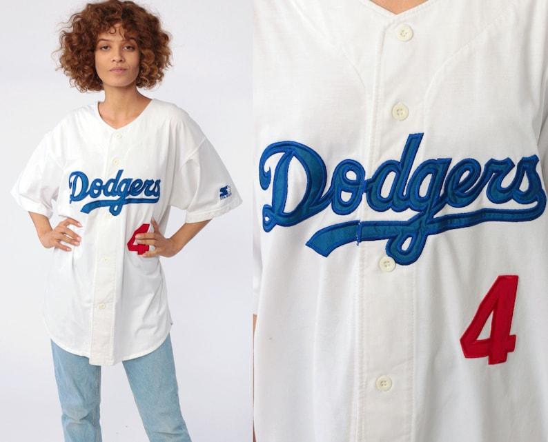 LA Dodgers Shirt Baseball Shirt STARTER Button Up Jersey MLB Shirt Sports  Retro Graphic Vintage 80s Short Sleeve White Extra Large xl