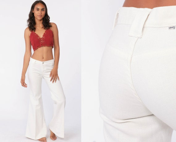 70s Levis Bell Bottoms Pants White Sailor Jeans High Waisted Trouser Hippie Flared Sta Prest 1970s Bohemian Vintage Boho Levi Extra Small xs