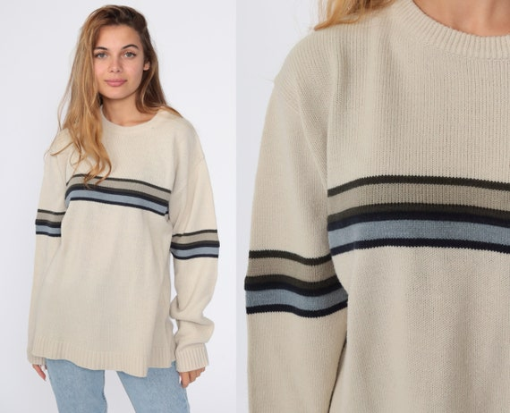 Taupe Striped Sweater 90s Knit Sweater Slouch 1990s Jumper Vintage Pullover Retro Medium Large