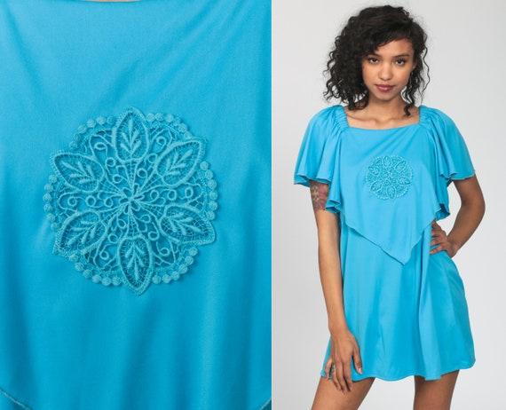 70s Boho Dress Blue Capelet Mini Dress Grecian Party Dress 1970s Vintage Bohemian Cape Flutter Sleeve High Waisted Drape Flounce Medium