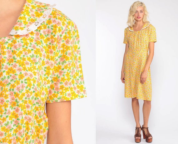 60s Day Dress Yellow Floral Dress Midi Mad Men 1960s Cotton Day Dress Tea Length Vintage Garden Party Short Sleeve High Waist Small