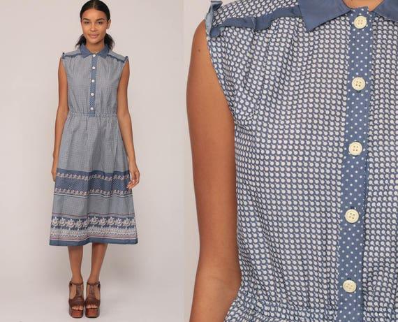 Button Up Dress 70s Boho Midi High Waist Bohemian Geometric Dot Print 1970s Hippie Vintage Sleeveless Blue Retro Large