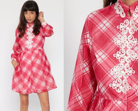 Plaid Babydoll Dress Red Boho Mini Long Sleeve 70s Mini Dress Checkered Empire Waist 1970s Mandarin Collar Dolly Vintage Small