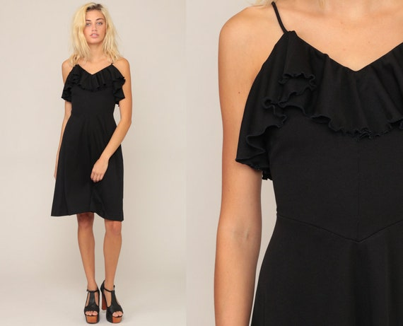 Black 70s Dress Midi Dress Boho Party RUFFLE Dress Grecian 1970s Bohemian High Waist Hippie Vintage Minidress Spaghetti Strap Extra Small xs