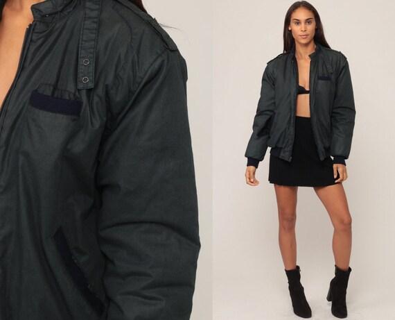 Cafe Racer Jacket 80s Bomber Windbreaker Charcoal Jacket Moto Hipster Coat Vintage 1980s Lightweight Medium Large