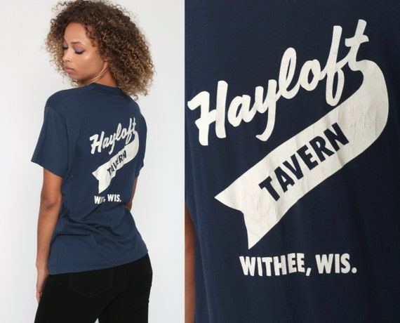 Screen Stars Shirt HAYLOFT TAVERN TShirt Withee Wisconsin Graphic Alcohol Shirt 80s Tshirt Drinking Tee Vintage Bar Retro Small Medium