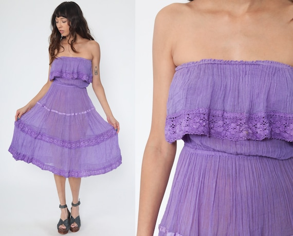 Strapless Mexican Dress Mini Boho Embroidered Lace Peasant Dress Sundress Purple Hippie Bohemian High Waist Vintage Small Medium