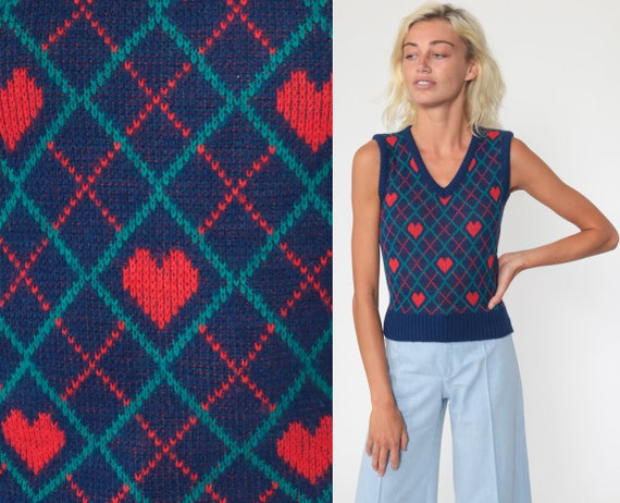 70s Sweater Vest Top HEART Tank Top Knit Shirt Retro Sleeveless Sweater V Neck 80s Kawaii Print Blue Vintage Knitwaves Extra Small xs