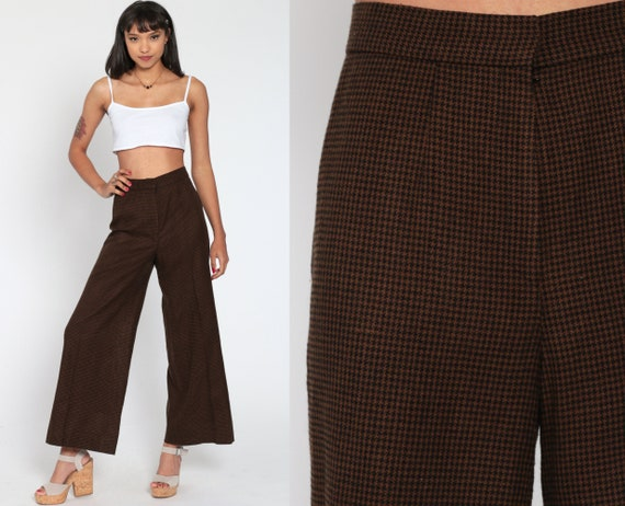 Bell Bottom Pants Houndstooth Wool Trousers 70s Plaid Hippie High Waist Flared Brown Black 1970s Checkered Vintage Boho Small 4