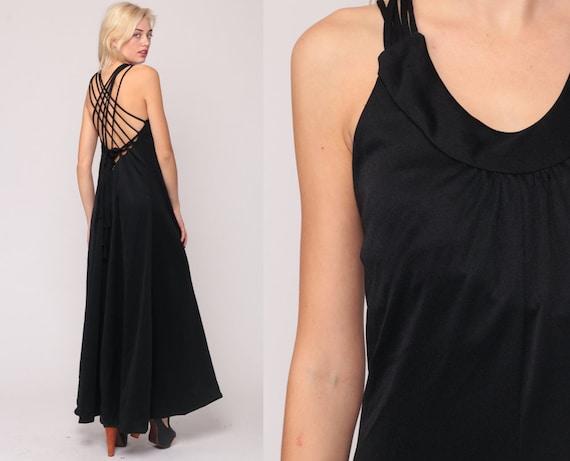 Long Black Dress CRISS CROSS Back Party Dress 70s Boho Dress Strappy Cage Maxi Dress Grecian Gown 1970s Vintage Bohemian Small Medium