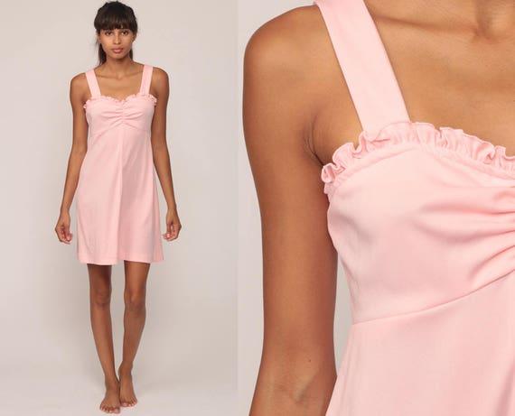 Babydoll Mini Dress 60s Mod RUFFLE Baby Pink 70s Empire Waist Dolly Boho 1970s Vintage Kawaii Pastel Sundress Party Extra Small xs