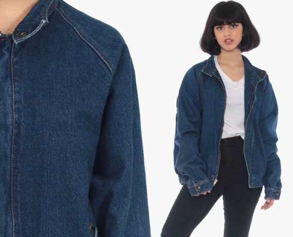 80s Denim Jacket ZIP UP Jean Jacket IZOD Denim Bomber Jacket Plaid Flannel Lined Blue Coat Trucker Raglan Sleeve Vintage Medium Large