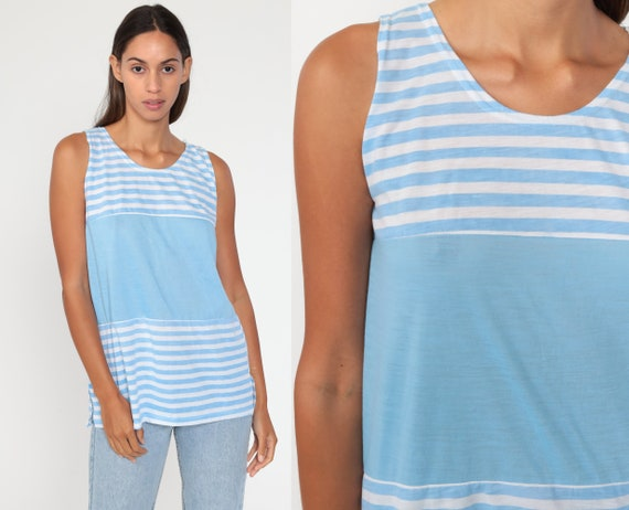 Striped Tank Top -- Pastel Baby Blue Tee Shirt 1980s Retro Shirt Sleeveless Top 80s Tee Vintage Extra Small xs s