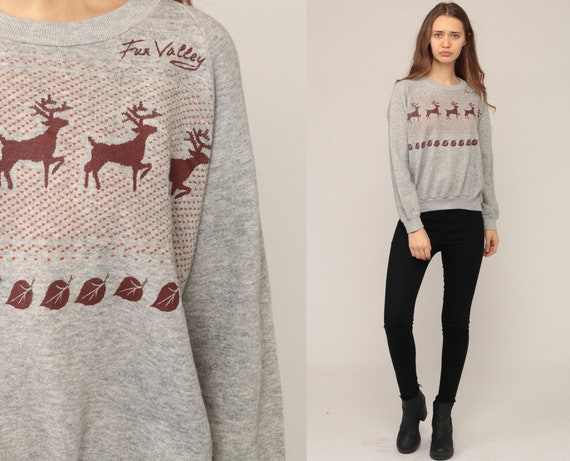 Deer Sweatshirt Animal Sweatshirt 80s Jumper Pullover Sweat Shirt Reindeer Shirt Graphic Print Shirt Hipster Vintage Slouchy Medium