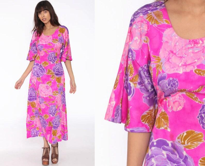 46e8e99d Neon Hawaiian Dress Bell Sleeve Tiki Maxi Dress 70s Hot Pink | Etsy