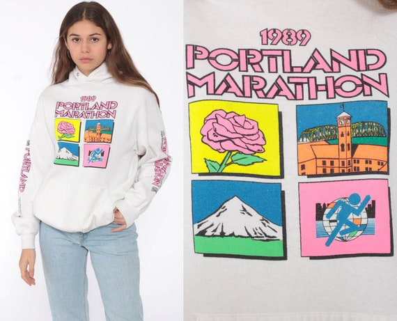 1989 Portland Marathon Sweatshirt Neon Hooded Sweatshirt 80s Graphic Hoodie Jerzees Hood 1980s Retro Sweater Vintage Oregon Small Medium