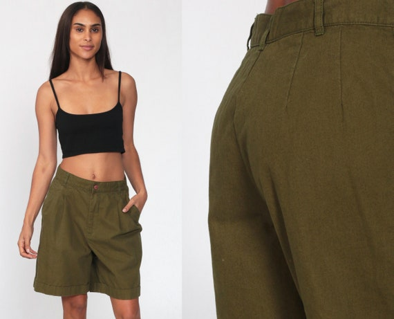 Pleated Shorts 90s Mom Shorts Olive Green High Waisted Retro Trouser Baggy Paper Bag 1990s Cotton Vintage High Waist Women's Medium