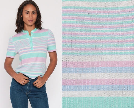 Striped Polo Shirt 70s Pastel Top Half Button Up Shirt Purple Mint Short Sleeve 1970s Stripes 80s Nerd Retro Vintage Small