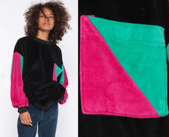 80s Velour Sweatshirt -- Teal Sweater Slouchy Long Sleeve Black Color Block Pink Pullover Pocket Shirt 1980s Sweatshirt Medium Large