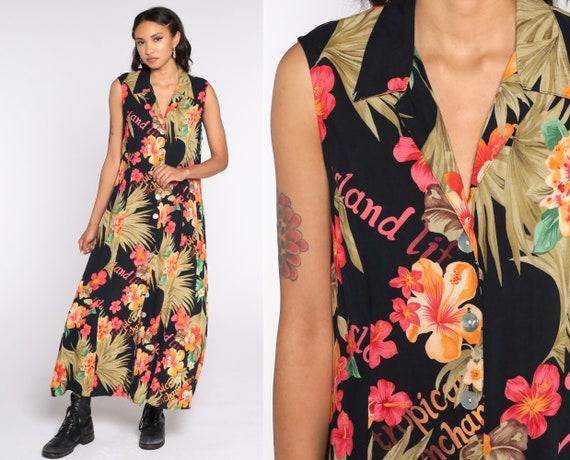 90s Hawaiian Dress Tropical Print Keyhole Sundress Maxi ShirtDress 1990s Button Up Bohemian Sheath Summer 1990s Boho Sleeveless Large 12