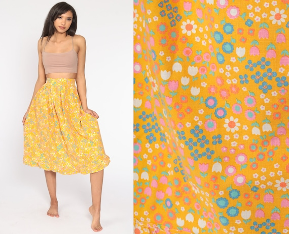 Floral Midi Skirt 2xs 70s Boho High Waisted Orange 1970s Bohemian Hippie Festival Vintage Retro Extra Small xxs