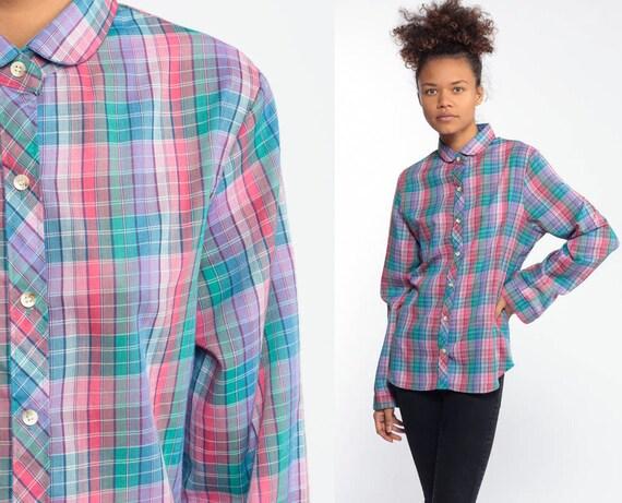 WRANGLER Plaid Shirt Paper Thin Peter Pan Collar Blouse 80s Pastel Rainbow Button Down Top Semi Sheer 1980s Pink Teal Long Sleeve Small