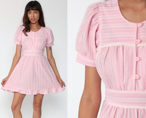 70s Mini Dress Pink Babydoll Bohemian Mod Pastel Baby Pink Empire Waist 1970s Puff Sleeve Vintage Boho MiniDress Button Up Small