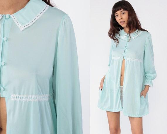 70s Lingerie Robe Pastel Bed Jacket Nightgown Pajama Dress PETER PAN COLLAR Baby Blue Mini Nylon Nightie Boho Tent Vintage Button Up Medium
