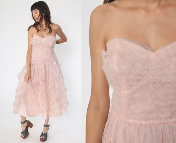 50s Party Dress Pink TULLE Strapless Tiered Princess 1950s Prom Sweetheart Wedding Mini Formal Vintage 1960s Gown Small