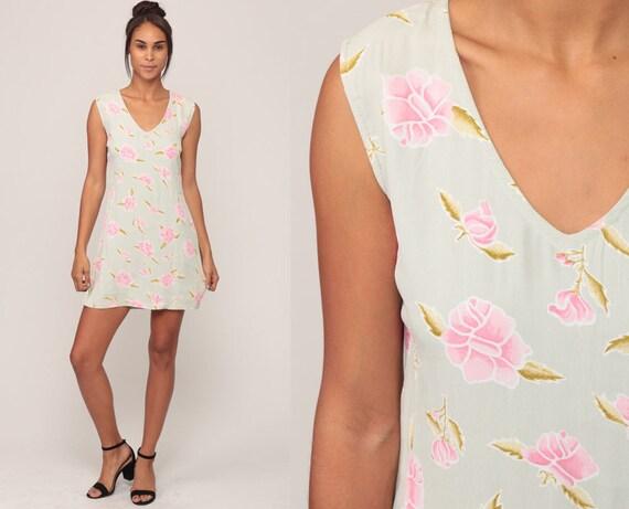 Grunge Mini Dress 90s Floral Print 1990s Sundress Vintage Summer Boho Sun Dress V Neck Shift Sheath Pink Moss Green Extra Small xs