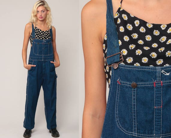 Denim Overalls Pants Jeans 80s Denim Bib Overalls Pants Baggy Big Mac Overalls Blue Long Jean Dungarees Hipster Vintage Medium Large