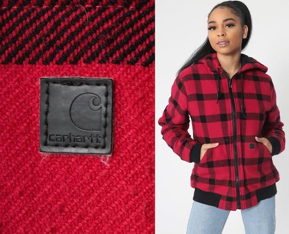 Plaid CARHARTT Jacket Hoodie Jacket Hood 90s Buffalo Plaid Print Black Red Hooded Workwear Vintage Zip Up Work Wear Women's Medium