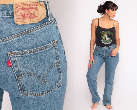 Levis Mom Jeans High Waist Jeans 80s Jeans Blue Jeans Levi Strauss BUTTON FLY Relaxed High Waist Denim Pants 501 Vintage Medium 10 30