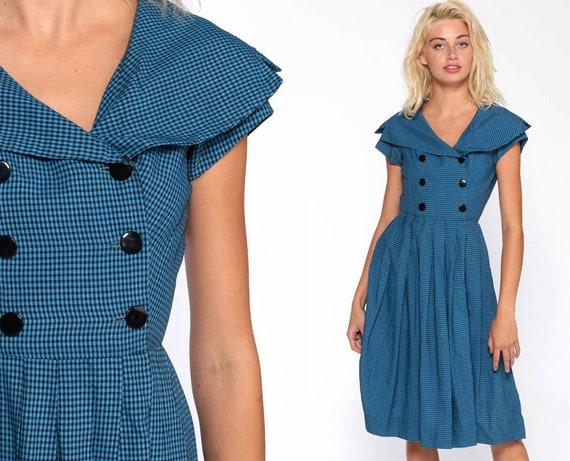 1960s Gingham Day Dress Blue Rockabilly Dress 60s Checkered Print Button Up High Waist Midi Tea Length Vintage Full Skirt Extra Small xs xxs