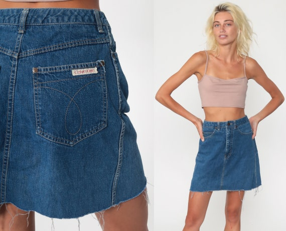 Calvin Klein Skirt 90s Cutoff Jean Skirt Denim Mini Skirt CK Skirt 1990s High Waisted Grunge Retro Vintage Blue CK Jeans Small 4