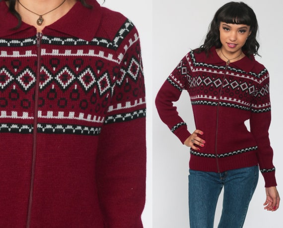 Nordic Sweater Jacket Burgundy Zip Up Cardigan 70s Bohemian Norwegian 80s Boho Chunky Vintage Geometric Collar Medium
