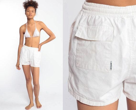 White Cotton Shorts Dunlop Shorts 80s Shorts Gym Jogging Shorts Running High Waisted Retro Vintage 1980s Elastic Waist Extra Small xs