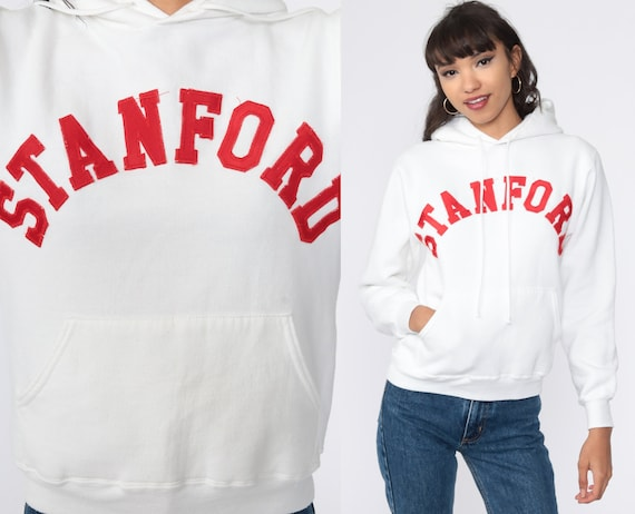 Stanford University Sweatshirt 80s Hoodie Sweatshirt White College Sweatshirt Hood Sweatshirt Hooded 90s Vintage Extra Small xs