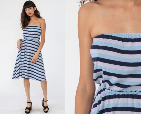 Strapless Dress 70s Midi Blue Striped Sundress 80s Tube Dress Hippie 1970s High Waist Vintage Boho Small