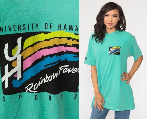 University Of Hawaii Shirt 90s Rainbow Fever Shirt University Hawaii Tshirt College Shirt Graphic T Shirt Retro Tee Vintage Medium Large