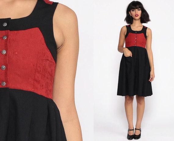 German DIRNDL Dress Wool OKTOBERFEST Dress Mini Dress Folk Peasant Dress Costume Black Red Ethnic Vintage Jumper Extra Small xxs Petite
