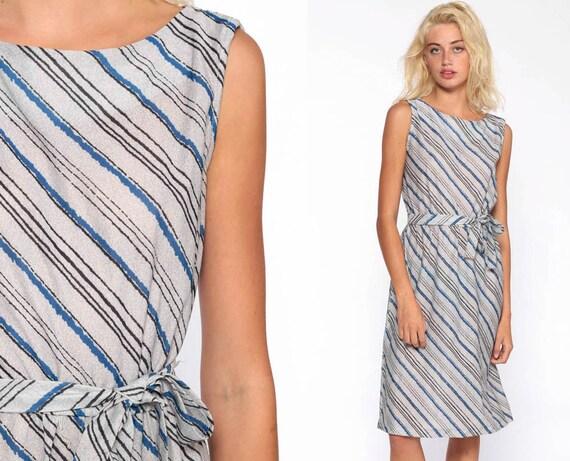 Vintage Grey Striped Dress 70s Midi Dress Secretary Blue High Waisted Belted Vintage Retro Sleeveless Bohemian 1970s Retro Medium