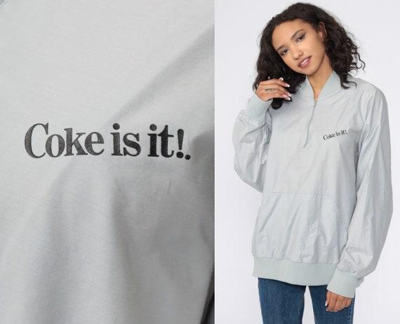 Coca Cola Jacket Windbreaker Jacket Coke Is It Jacket 80s Grey Windbreaker Raglan Sleeve Vintage 1980s Retro Extra Large xl