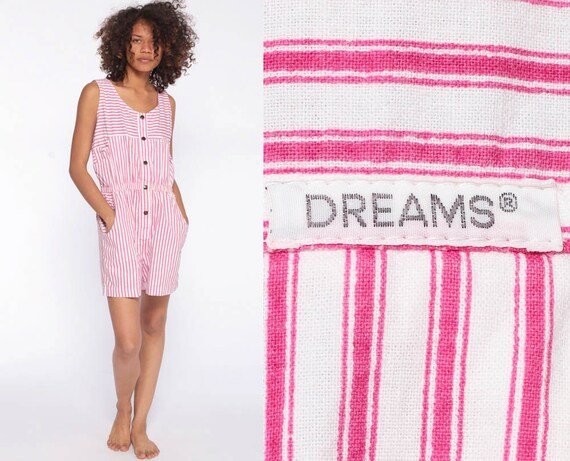 Striped Romper Playsuit 80s Dreams Romper Button Up Striped Cotton Romper Shorts Woman White High Waist Pink 1980s Vintage Sleeveless Small