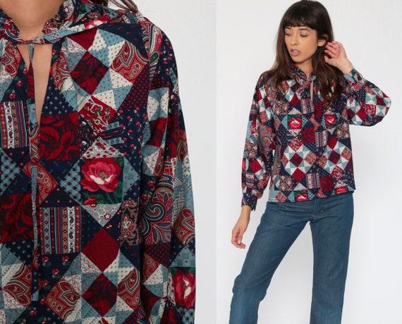 Patchwork Tunic Top 70s Quilt Print Bohemian Shirt Long Sleeve Blouse Floral Hippie Blue Cotton Festival Boho 1970s Ruffle Collar Medium